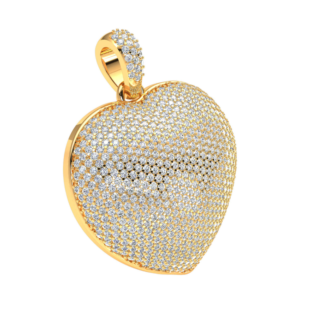 3.00 Ct Pave Heart Pendant For Adults Round H SI2 Diamond 10k Gold