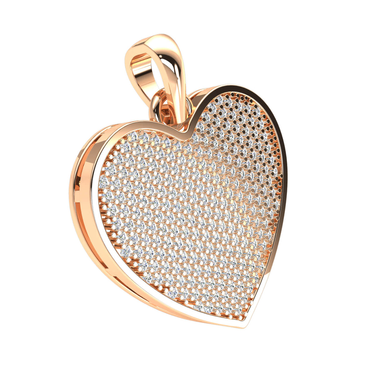1.15 Ct Round GH I1-I2 Diamond Pave Heart Pendant 10k Gold