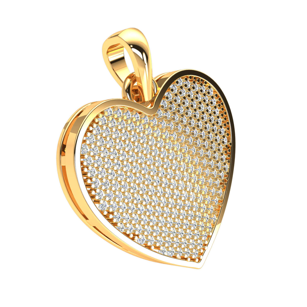 1.15 Ct Round GH SI2 Diamond Pave Heart Pendant 14k Gold
