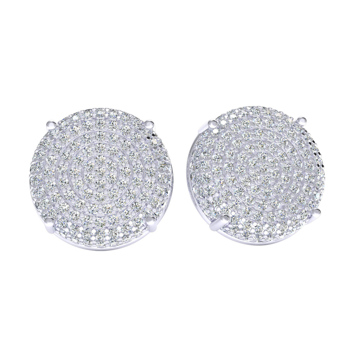 1.50 Ct Circle Cluster Round H SI2 Diamond Stud Earrings 10k Gold