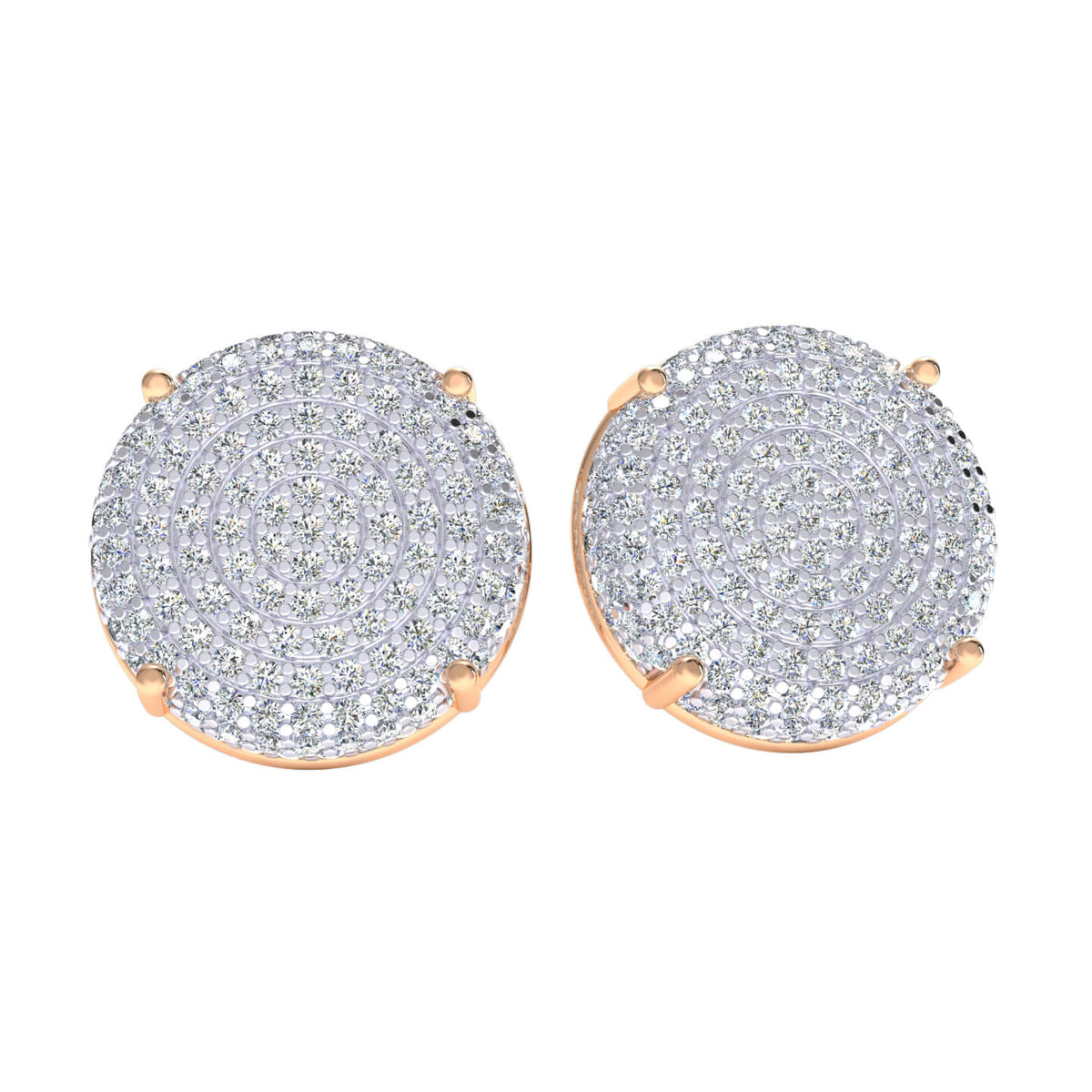 1.50 Ct Circle Cluster Round GH I1-I2 Diamond Stud Earrings 925 Sterling Silver
