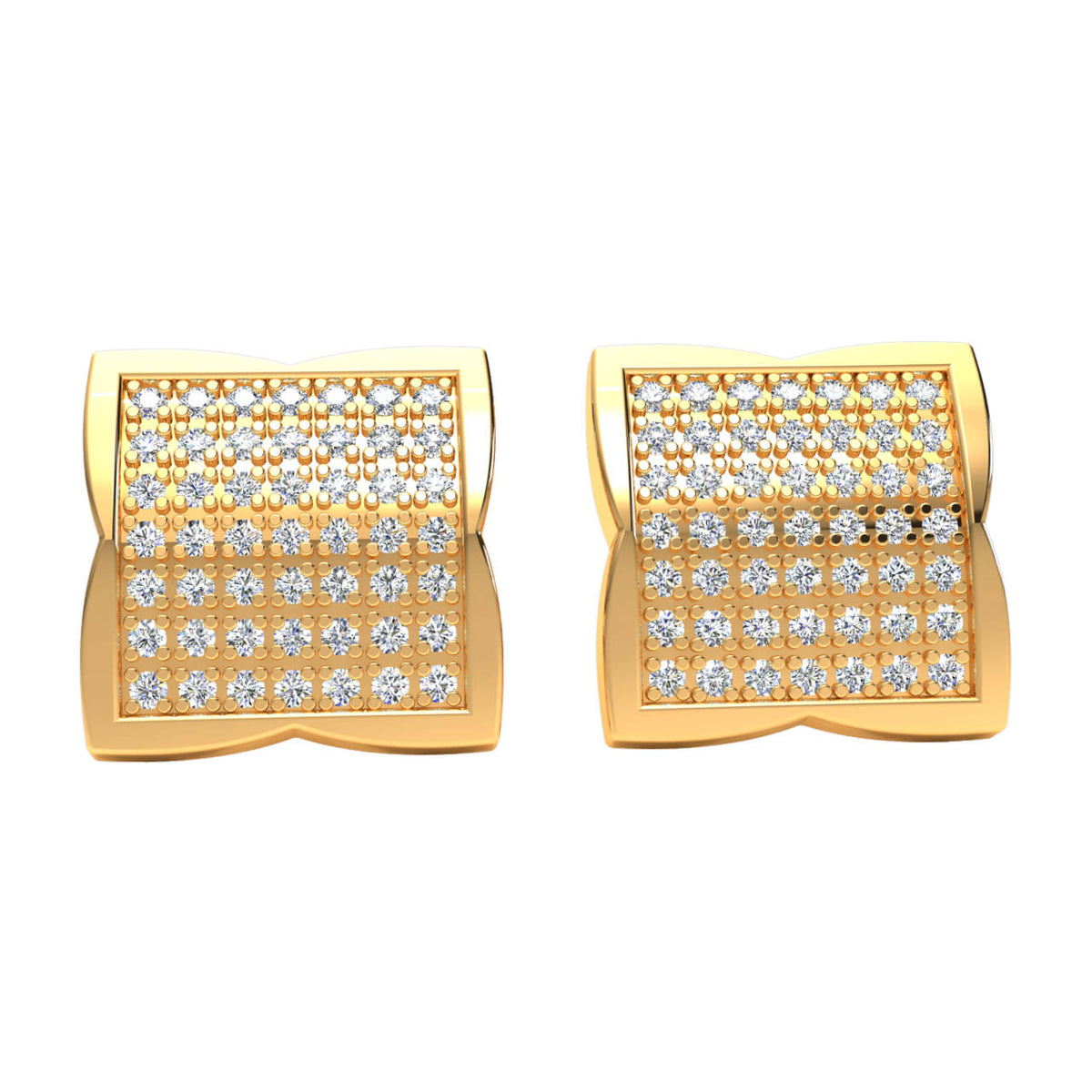 0.50 Ct Round GH SI1 Diamond Square Cluster Womens Stud Earrings 14k Gold