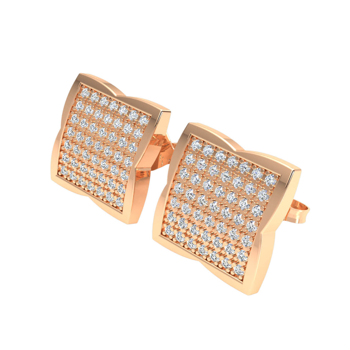 0.50 Ct Round H SI2 Diamond Square Cluster Womens Stud Earrings 10k Gold