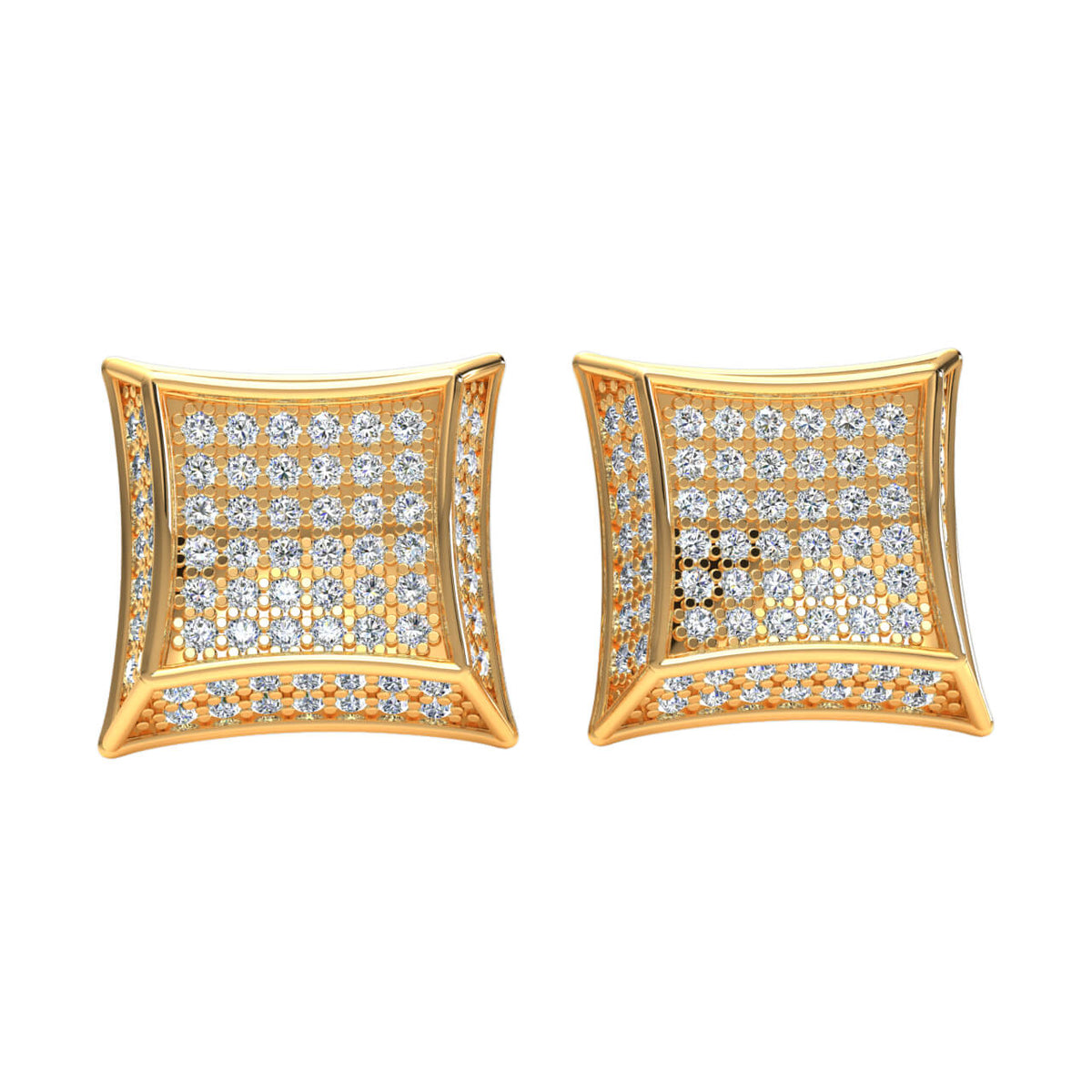 0.80 Ct Round H SI2 Diamond Cluster Unisex Stud Earrings 10k Gold