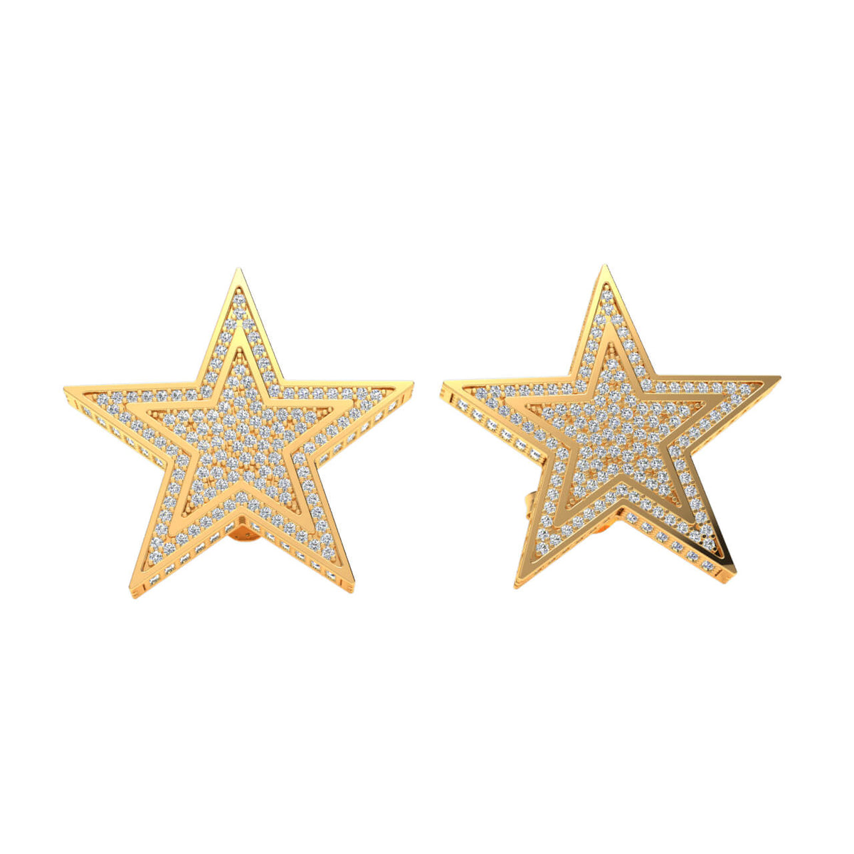 2.00 Ct Star Round H SI2 Diamond Stud Earrings For Adults 10k Gold