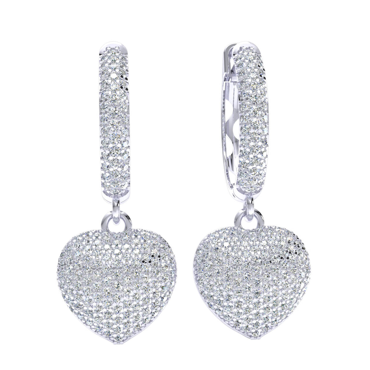 1.20 Ct Heart Cluster Round GH I1-I2 Diamond Fancy Earrings 925 Sterling Silver