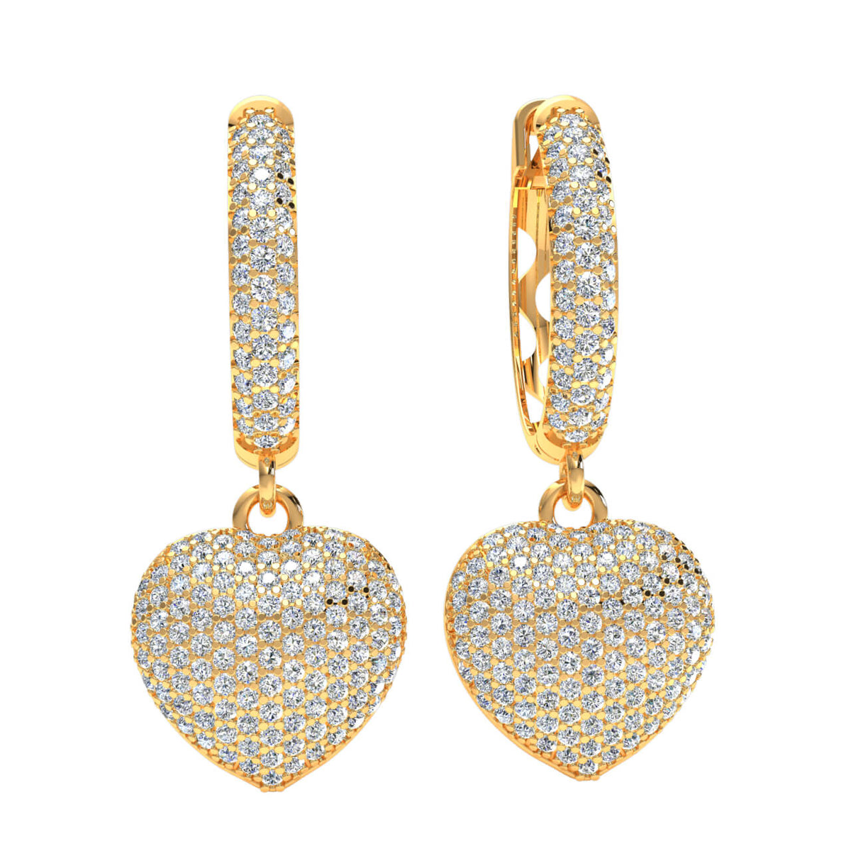 1.20 Ct Heart Cluster Round GH SI1 Diamond Fancy Earrings 14k Gold