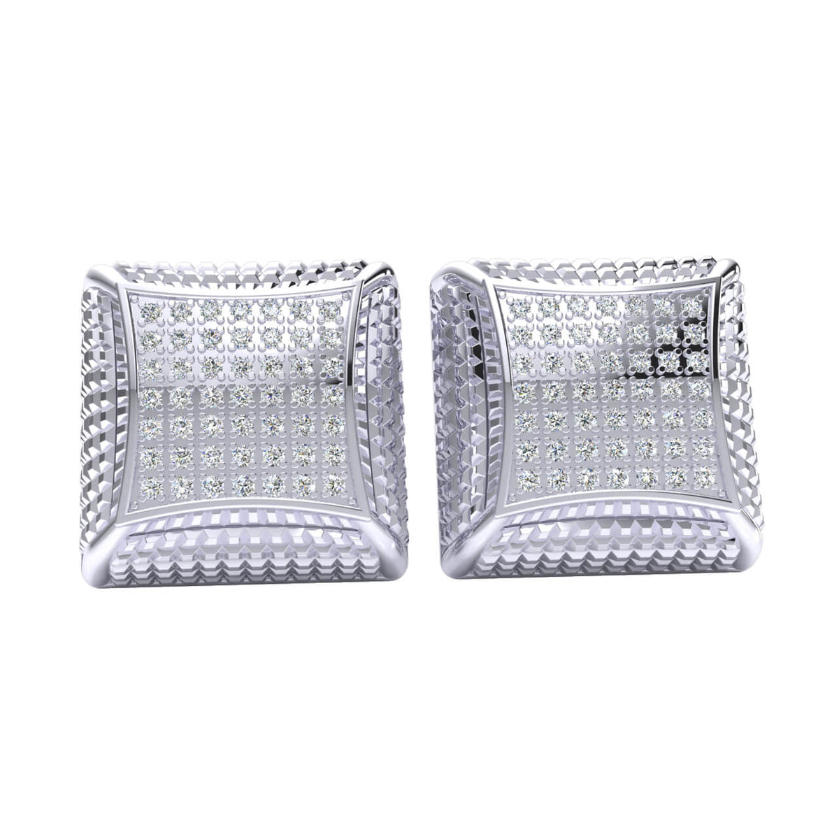 0.45 Ct Round GH I1-I2 Diamond Box Square Cluster Unisex Stud Earrings 925 Sterling Silver