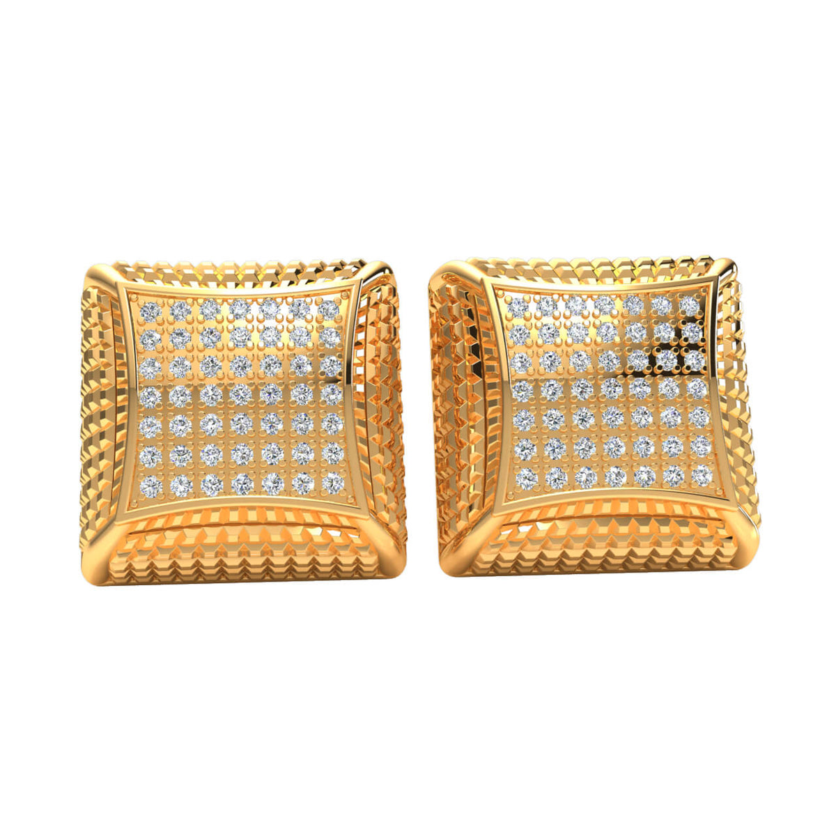 0.45 Ct Round GH SI2 Diamond Box Square Cluster Unisex Stud Earrings 14k Gold