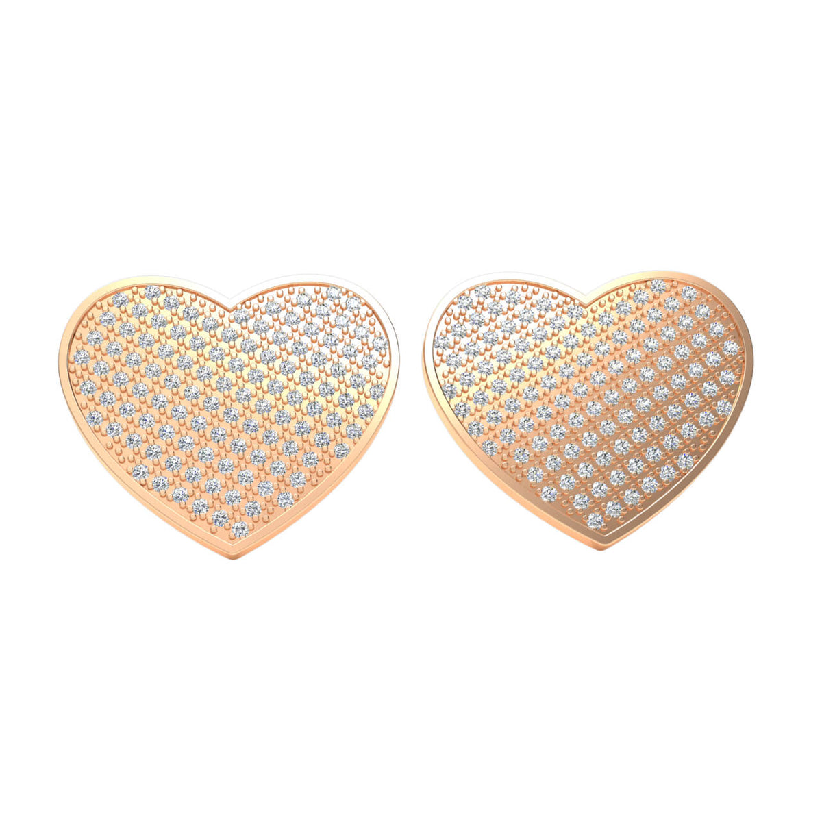 1.10 Ct Round H SI2 Diamond Heart Unisex Stud Earrings 10k Gold