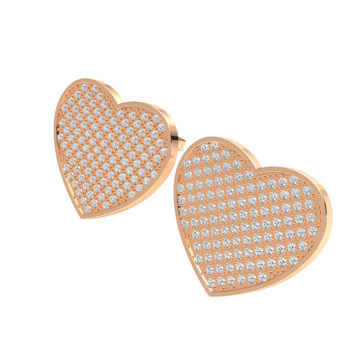 1.10 Ct Round GH SI1 Diamond Heart Unisex Stud Earrings 14k Gold