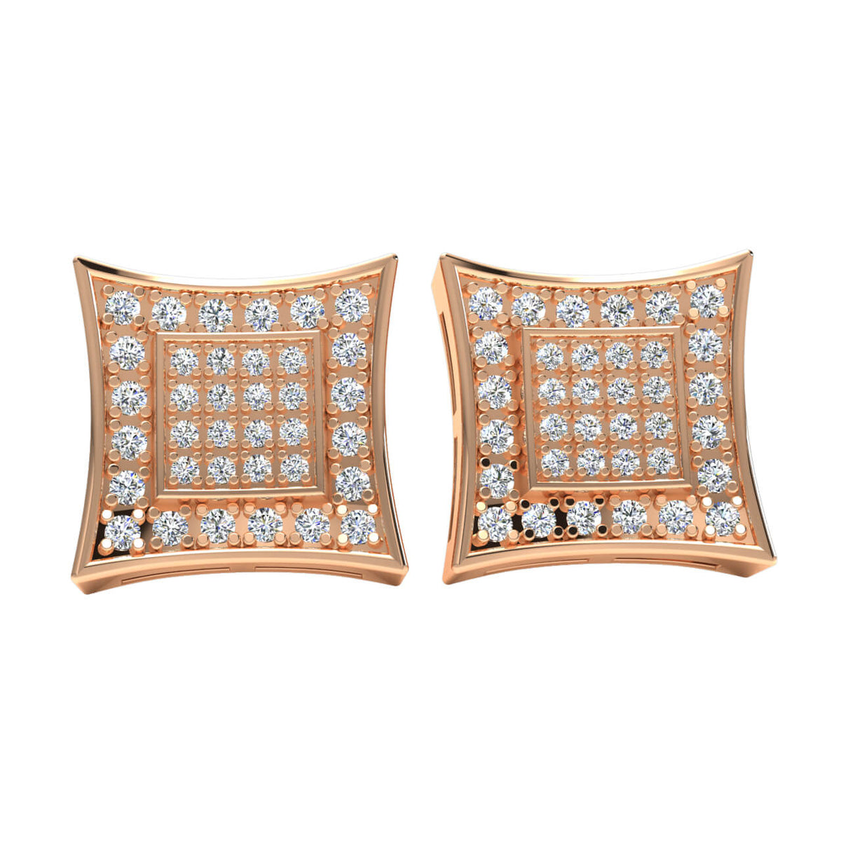 0.33 Ct Cluster Round GH SI2 Diamond Stud Earrings For Adults 14k Gold