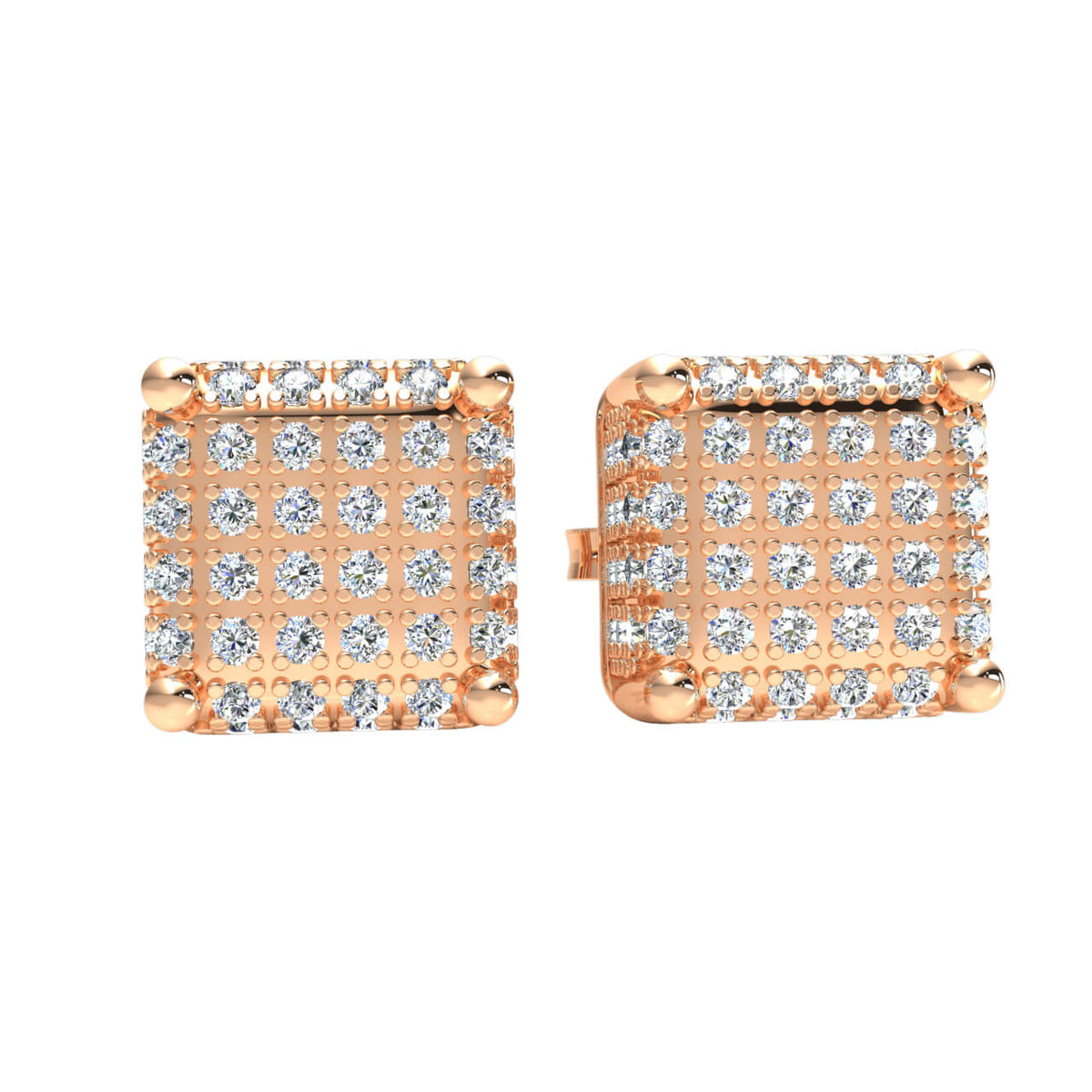 0.70 Ct Hip Hop Cluster Round GH SI2 Diamond Stud Earrings 14k Gold