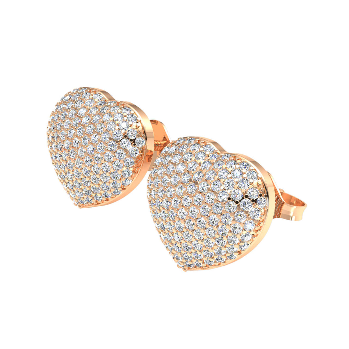 0.85 Ct Round H SI2 Diamond Cluster Heart Unisex Stud Earrings 10k Gold