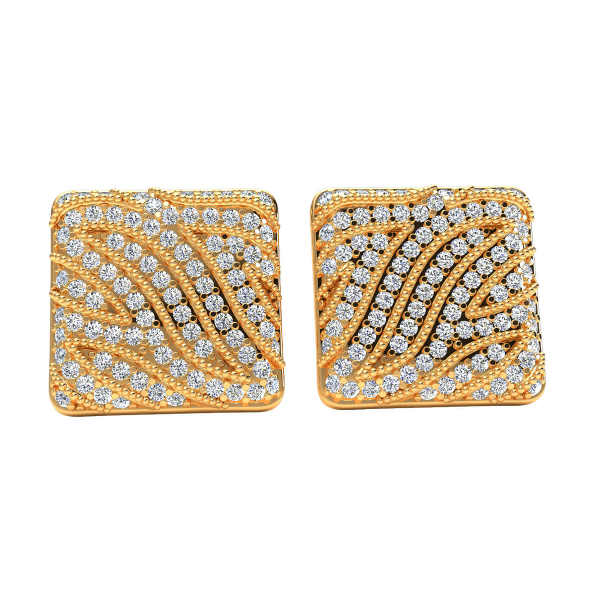 0.85 Ct Stud Round H SI2 Diamond Fancy Earrings For Womens 10k Gold