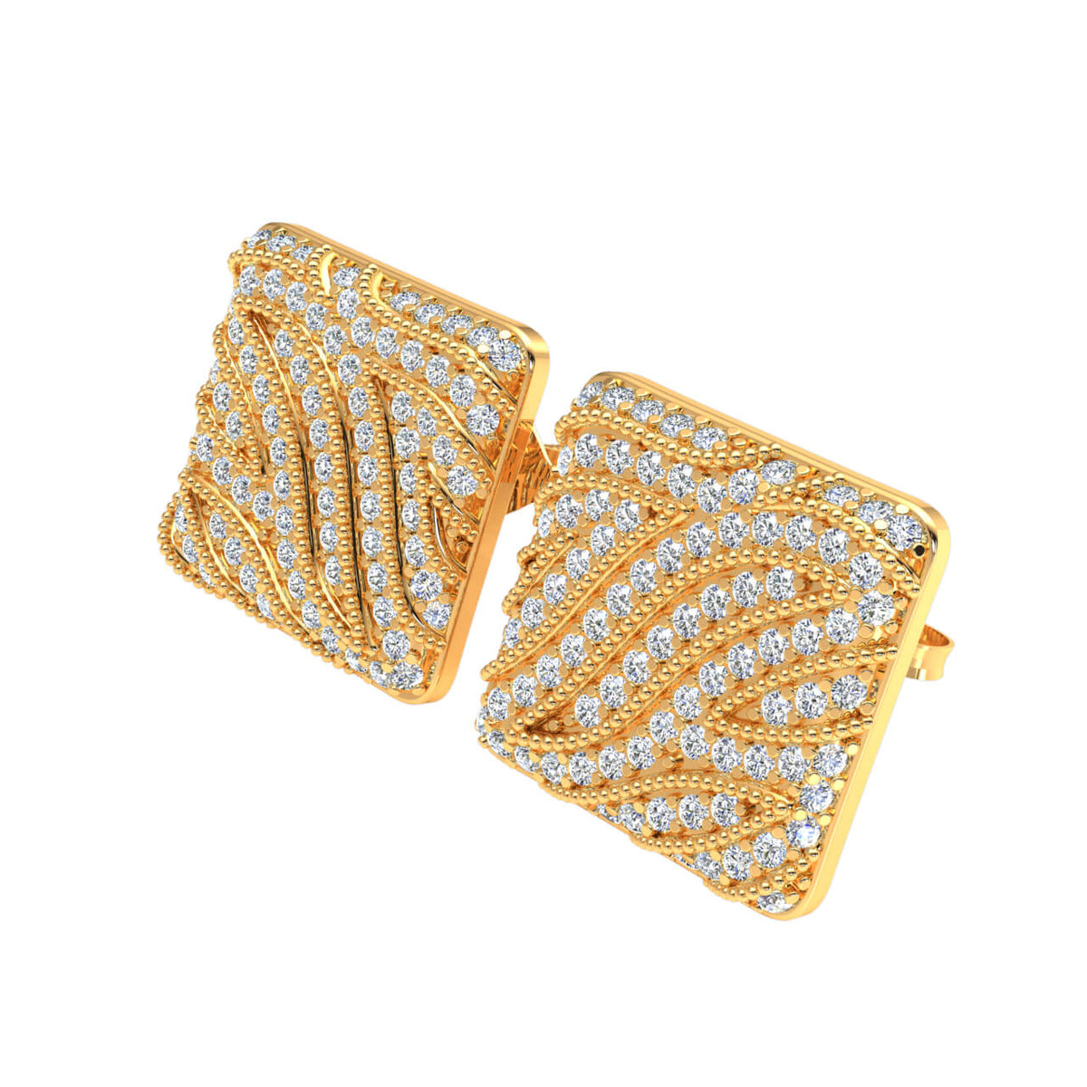 0.85 Ct Stud Round GH SI2 Diamond Fancy Earrings For Womens 14k Gold