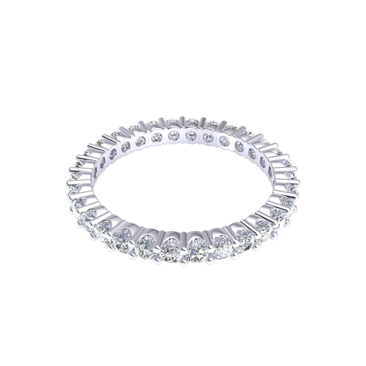 1.00 Ct Women's Round GH I1-I2 Diamond Stackable Eternity Wedding Band 925 Silver