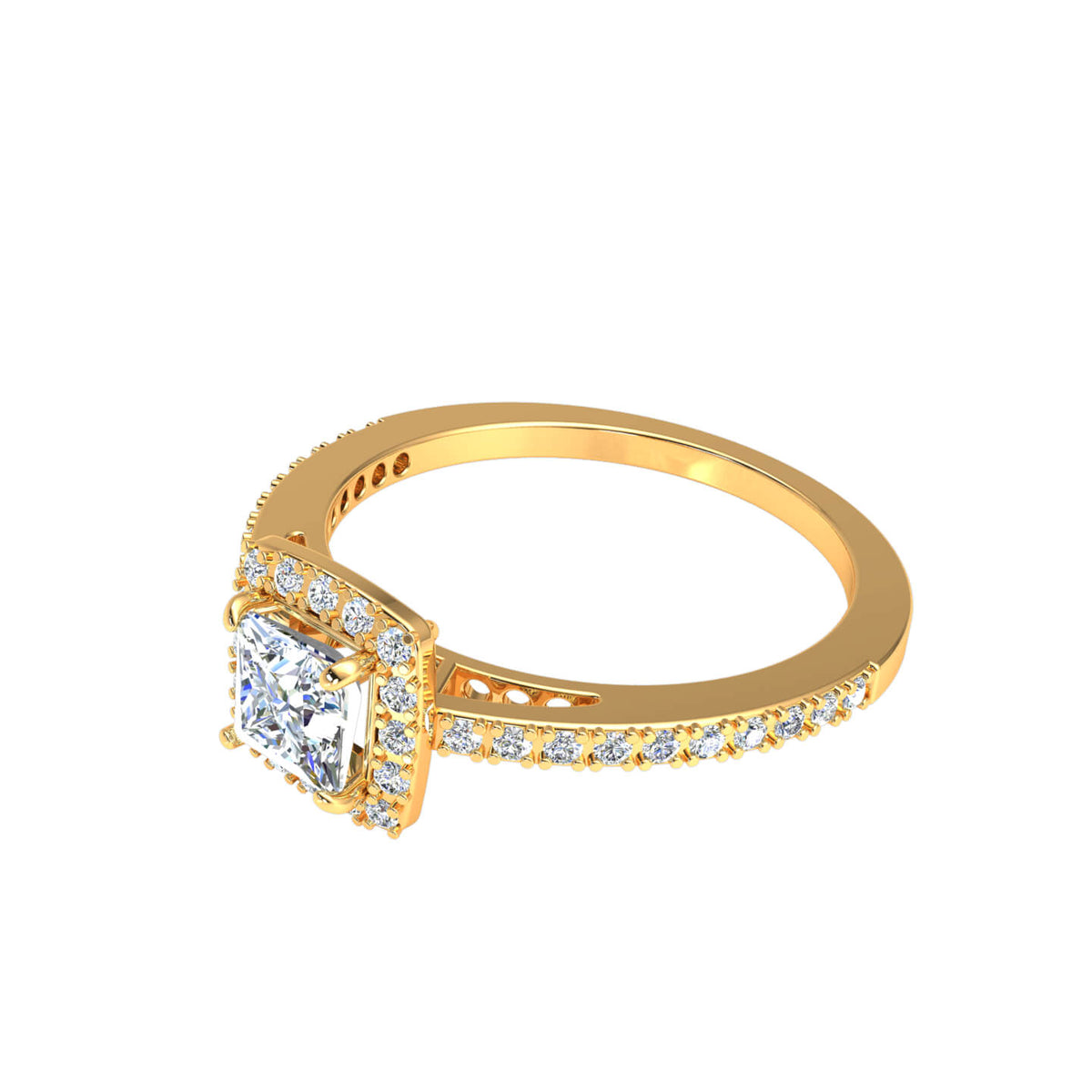 0.90 Ct Princess FG VS Diamond Solitaire Halo Engagement Ring For Women 14k Gold
