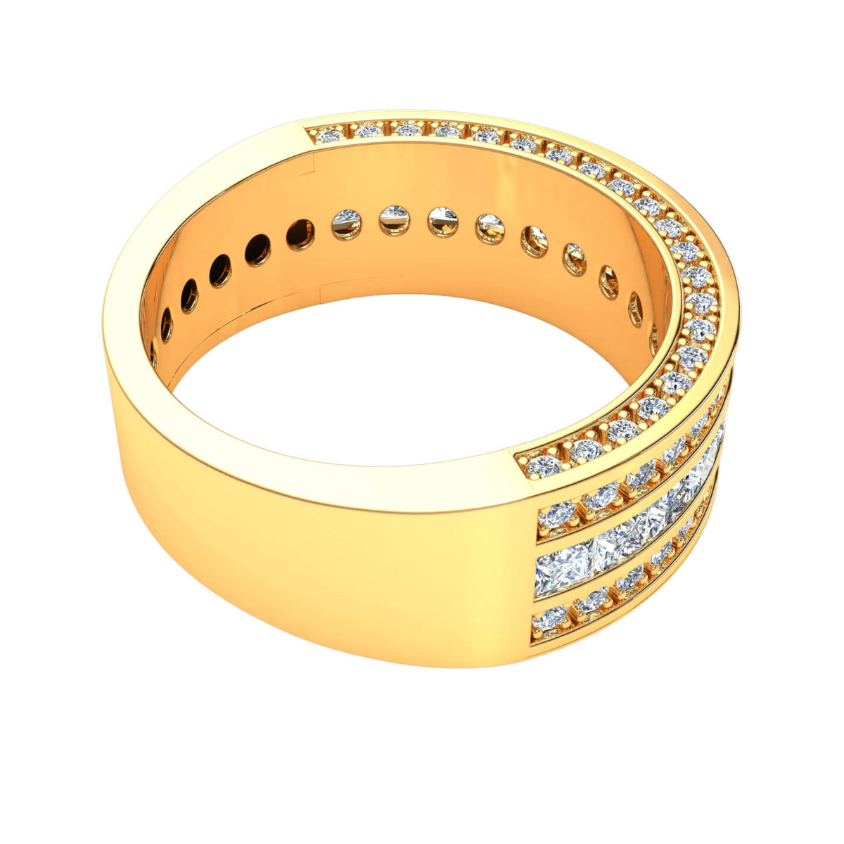 2.10 Ct Fancy Women's Alternating Stone F VS1 Bridal Wedding Band 18k Gold