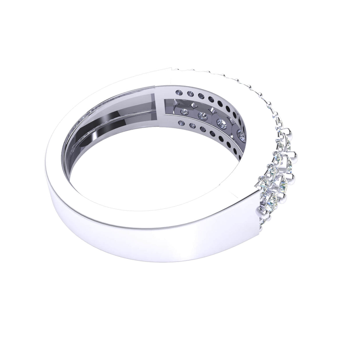 1.00 Ct Round GH I1-I2 Diamond Fancy 3-Row Wedding Band For Women 925 Silver