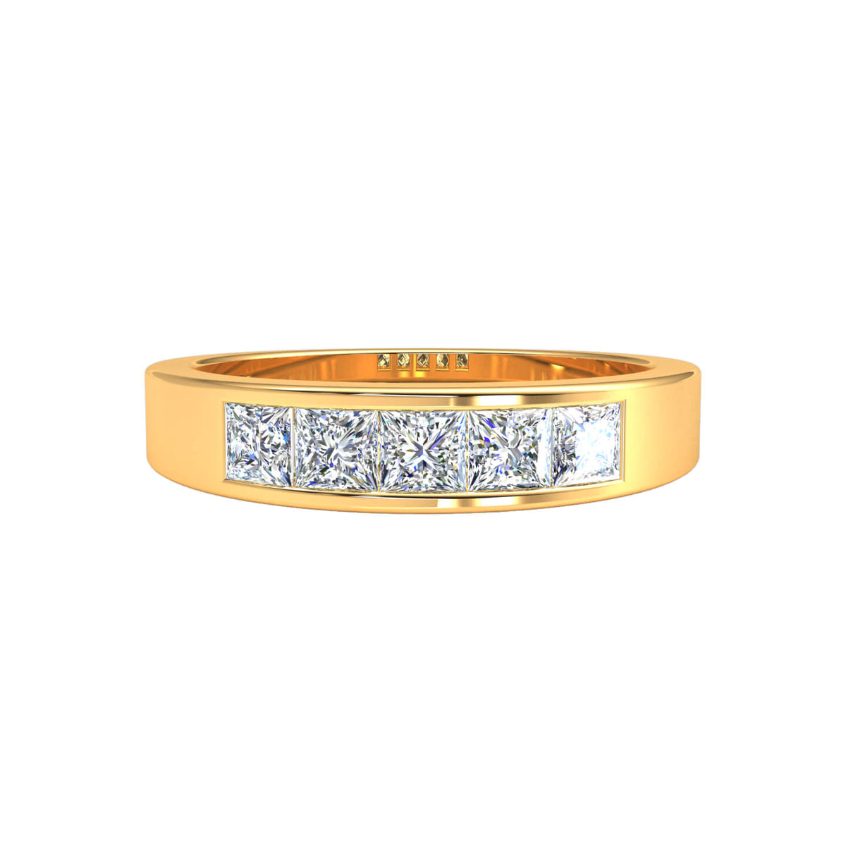 0.60 Ct Princess FG VS Diamond 5-Stone Stackable Wedding Band For Women 14k Gold