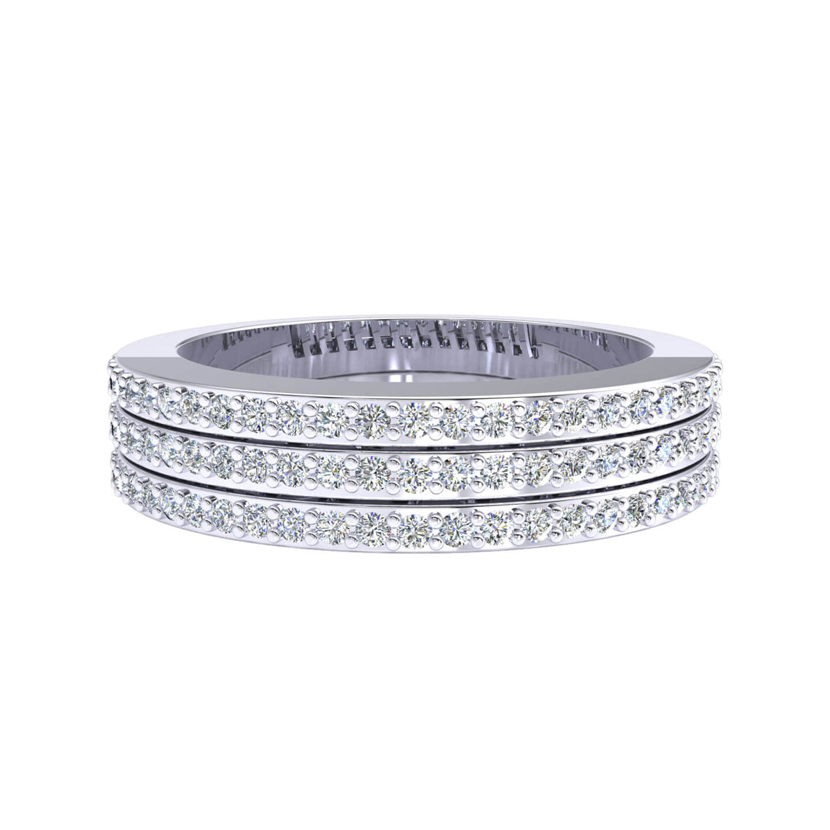 0.55 Ct Fancy Pave Women's 3 Row Round GH SI1 Diamond Wedding Band 10k Gold