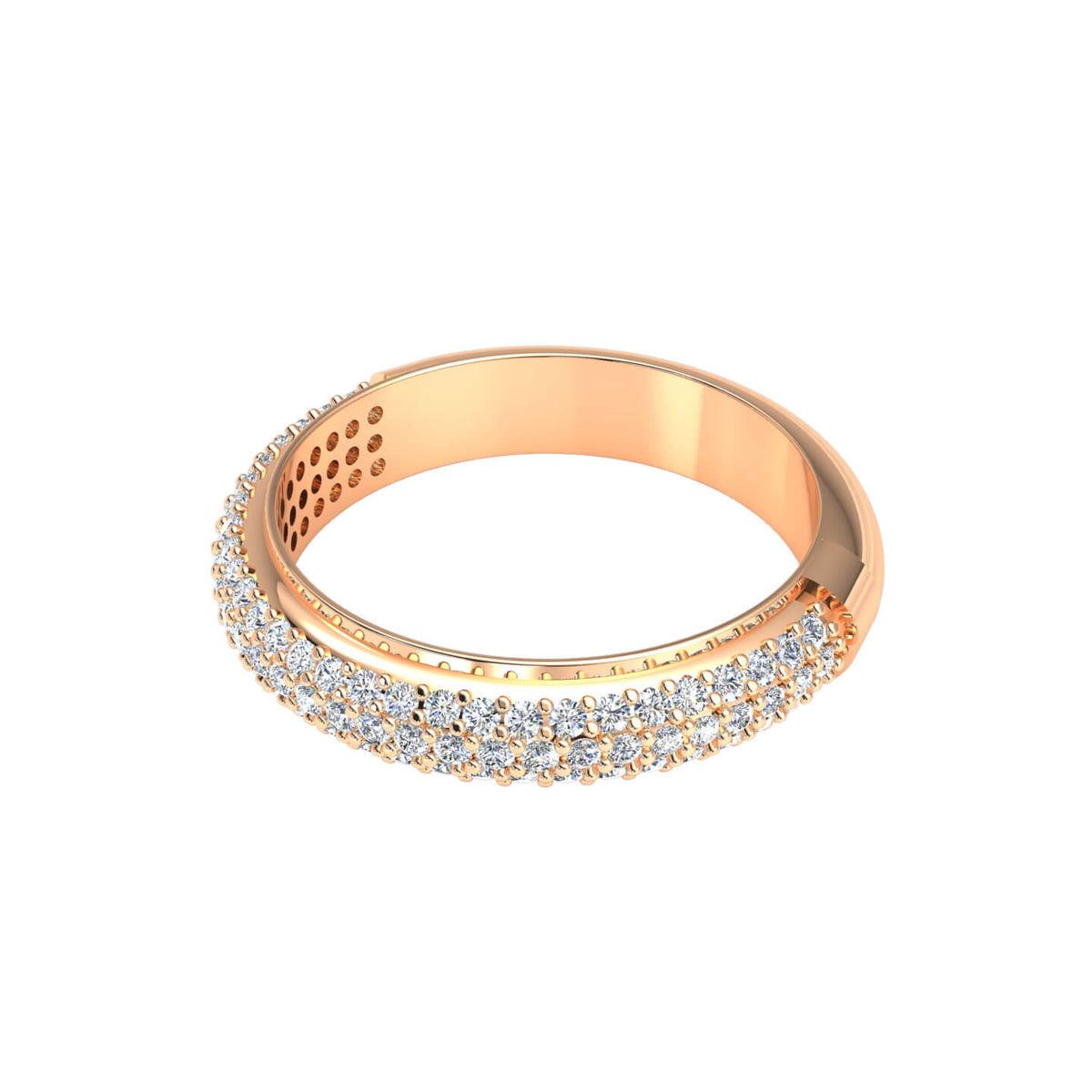 0.55 Ct Women's Round GH I1-I2 Diamond Fancy Pave Wedding Band 925 Silver