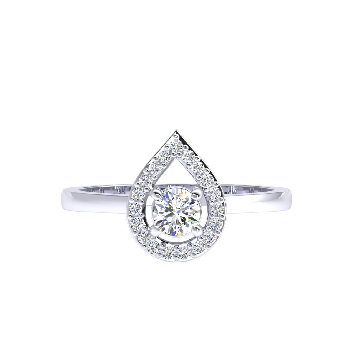 0.30 Ct Round FG VS Diamond Halo Solitaire Fancy Ring For Women 14k Gold