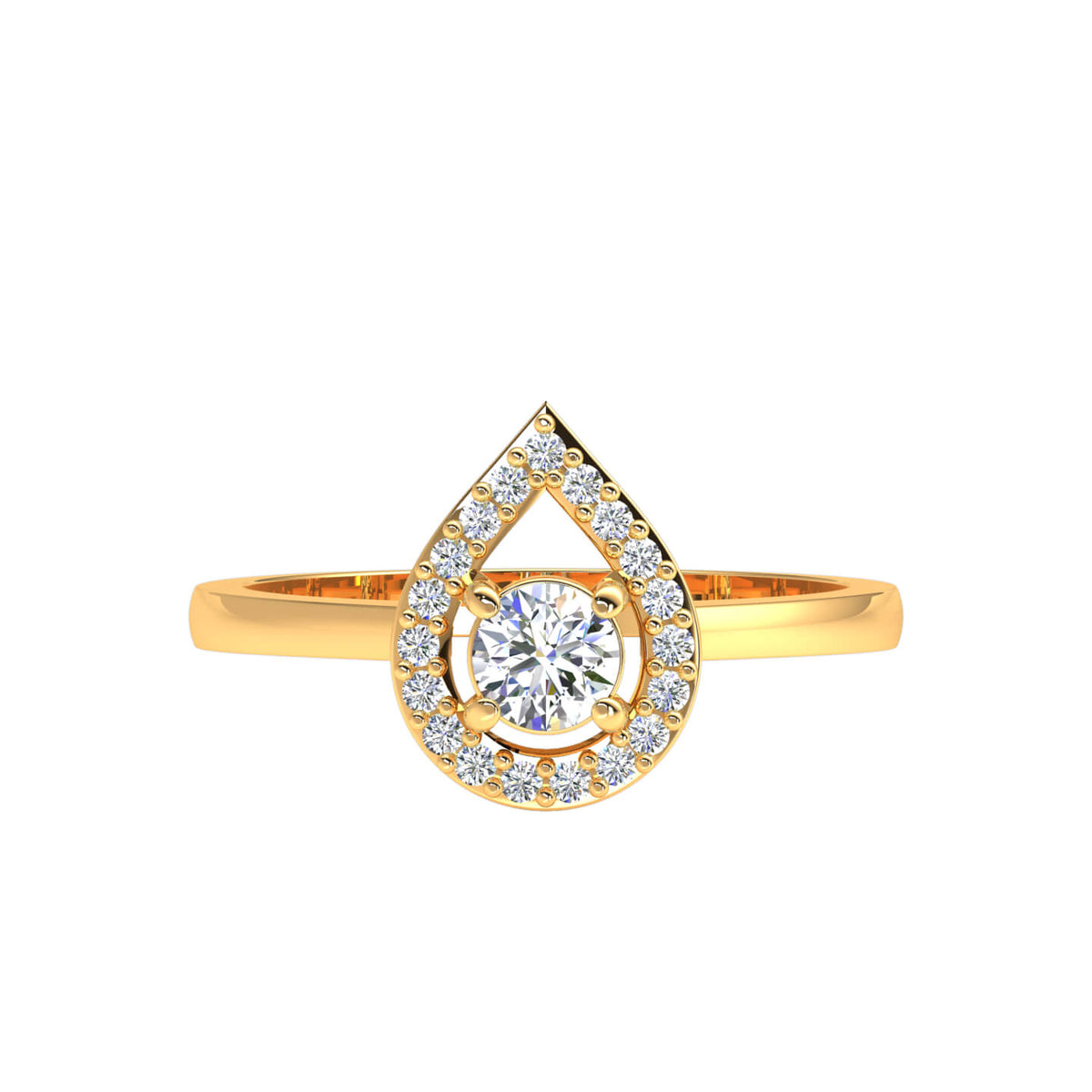 0.30 Ct Round GH SI1 Diamond Halo Solitaire Fancy Ring For Women 10k Gold