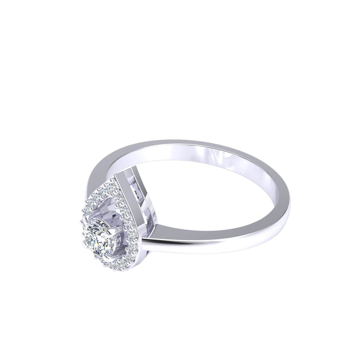 0.30 Ct Round GH I1-I2 Diamond Halo Solitaire Fancy Ring For Women 925 Silver