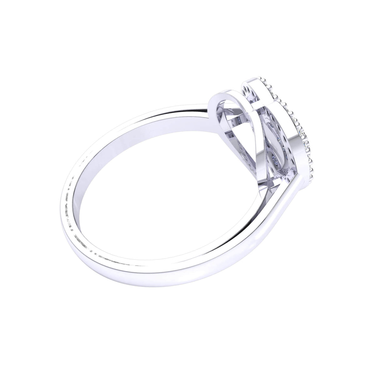 0.30 Ct Round GH I1-I2 Diamond Heart Cluster Fancy Ring For Women 925 Silver