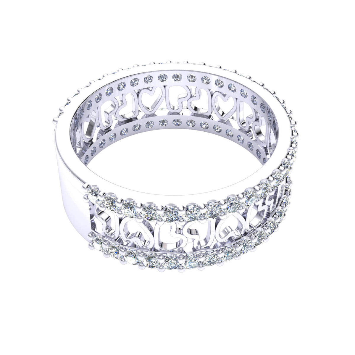 1.00 Ct Fancy Women's Heart Round GH I1-I2 Diamond Wedding Band 925 Silver