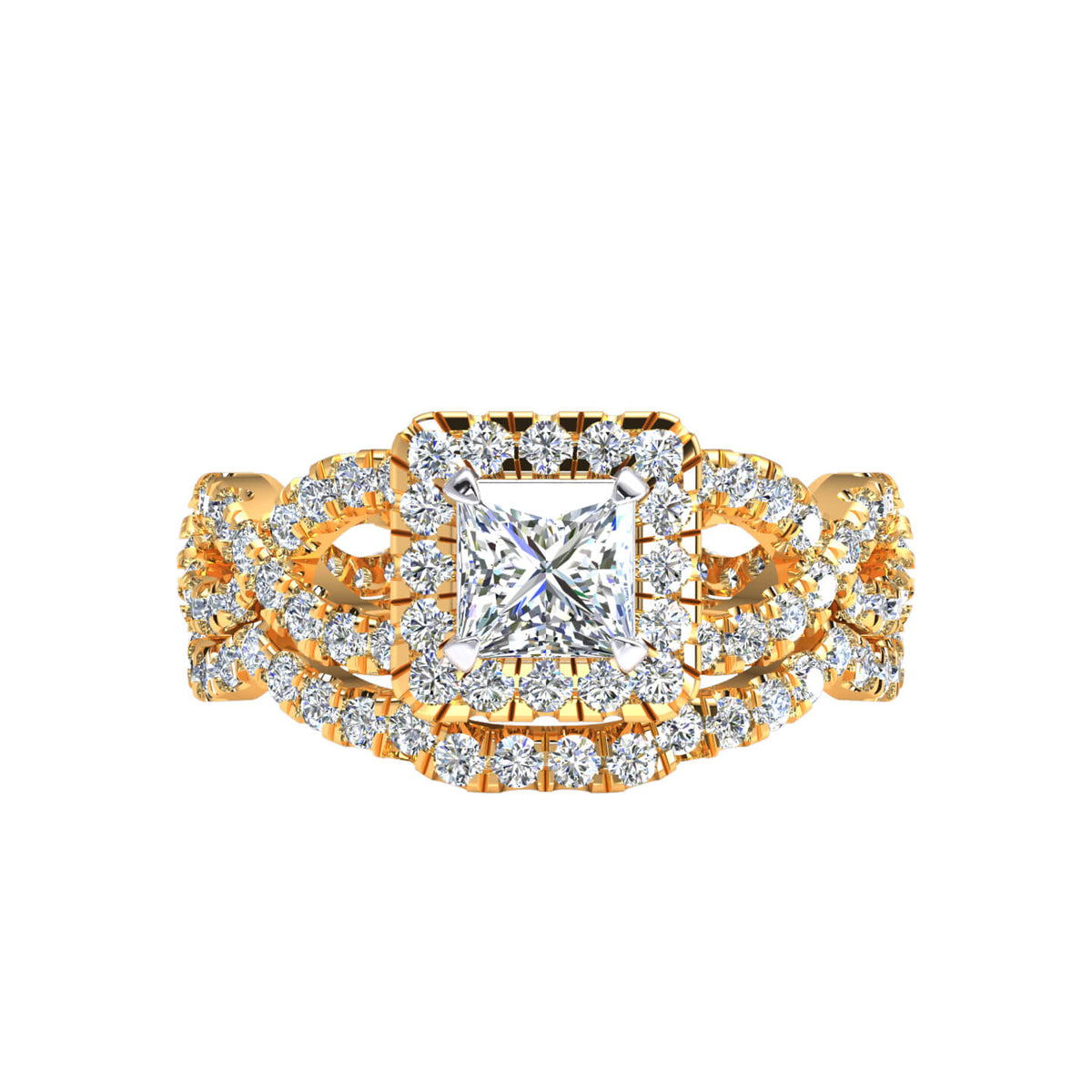 1.66 Ct Princess FG VS Diamond Halo Solitaire Engagement Set For Women 14k Gold