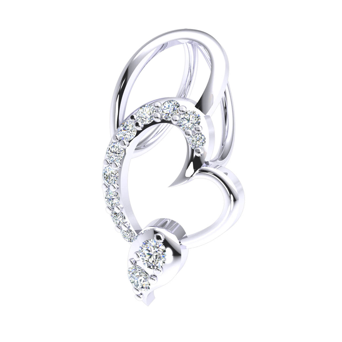 0.15 Ct Drop Round GH I1-I2 Diamond Women's Heart Pendant 925 Sterling Silver