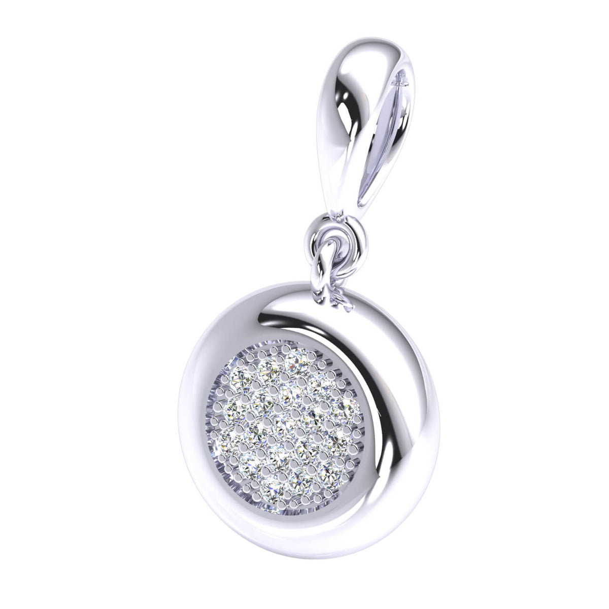 0.17 Ct Drop Circle Pendant For Women Round GH SI1 Diamond 14k Gold