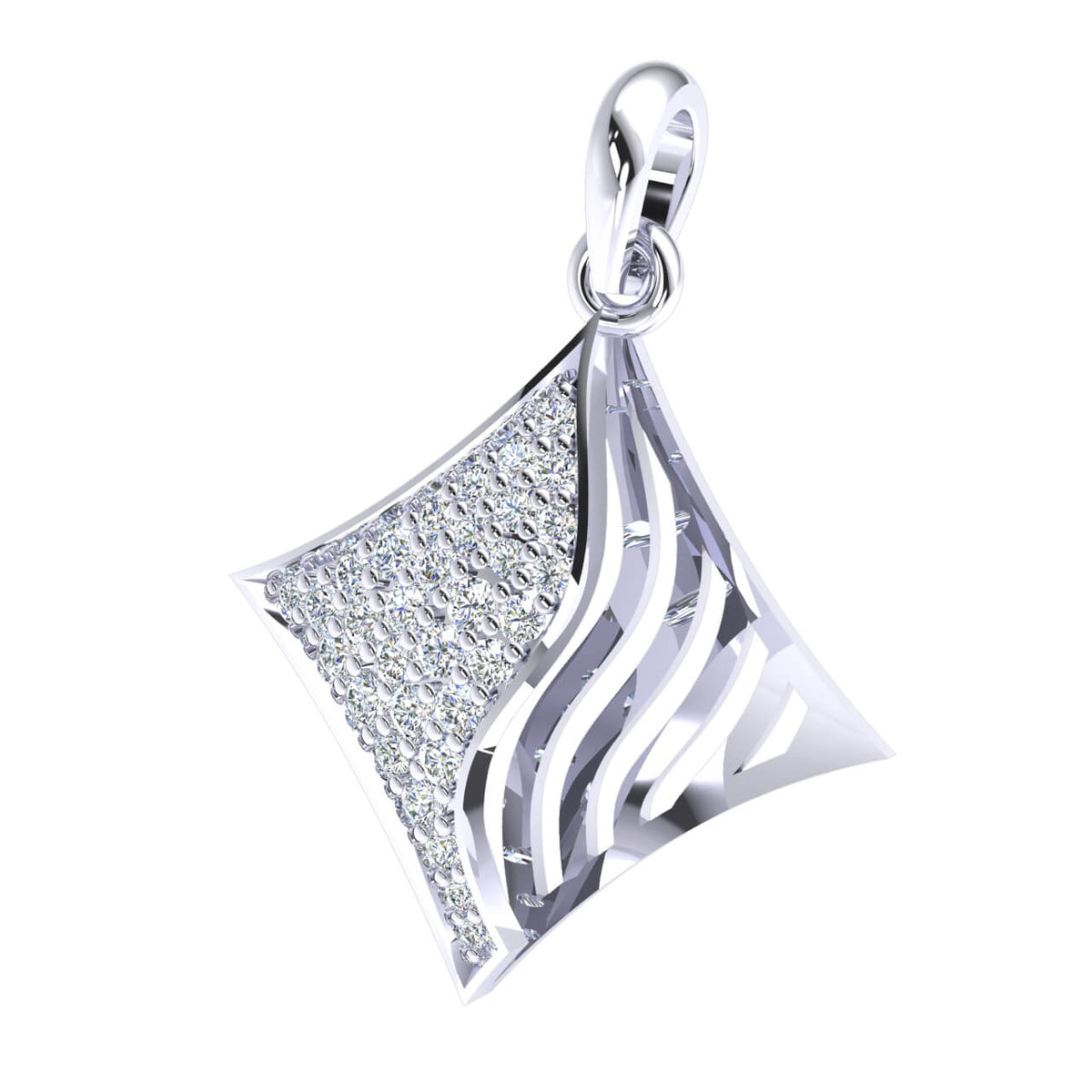 0.35 Ct Kite Shaped Fancy Round GH SI1 Diamond Women's Drop Pendant 10k Gold
