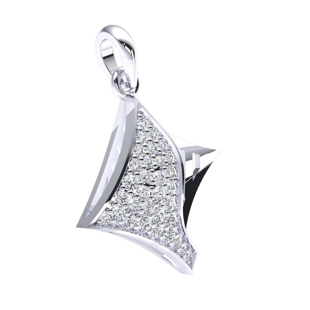 0.35 Ct Kite Shaped Fancy Round GH I1-I2 Diamond Women's Drop Pendant 925 Sterling Silver