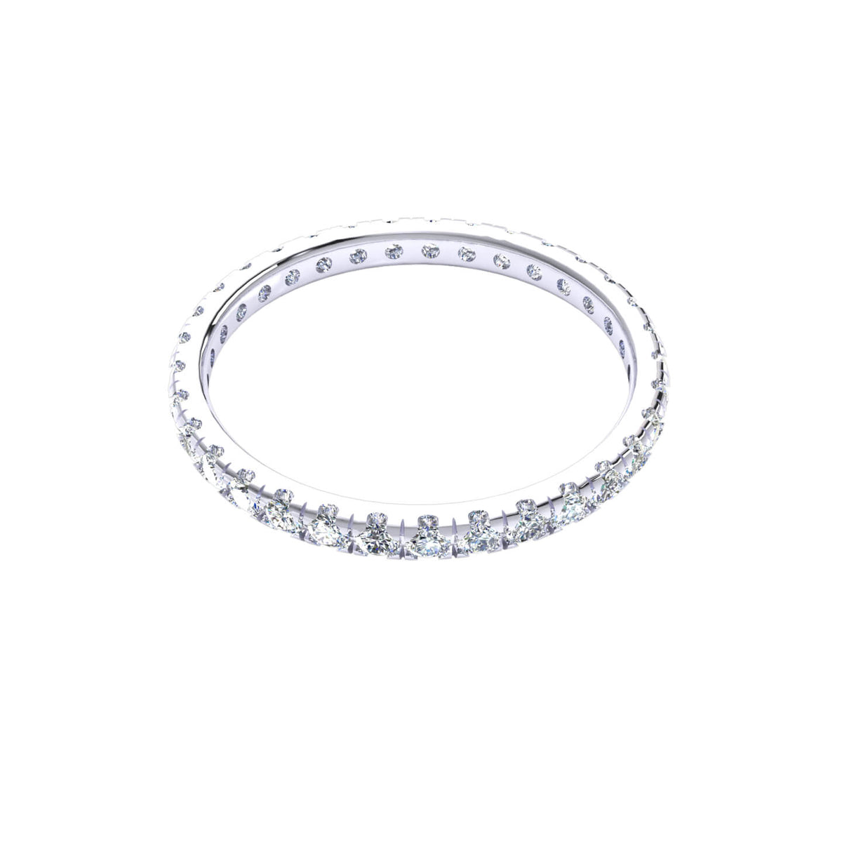0.60 Ct Round GH I1-I2 Diamond Stackable Eternity Wedding Band For Women 925 Silver