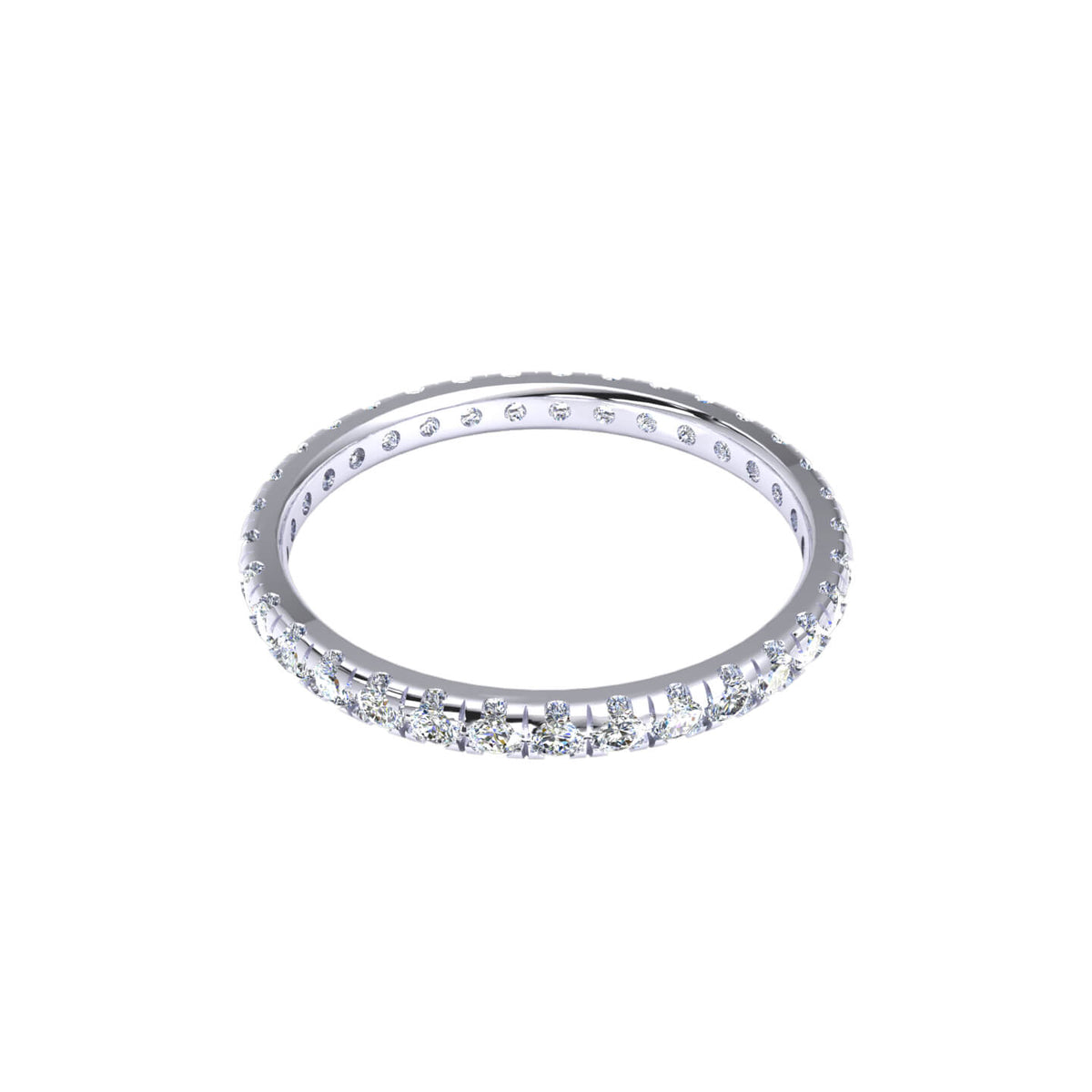 0.60 Ct Round F VS1 Diamond Stackable Eternity Wedding Band For Women 18k Gold