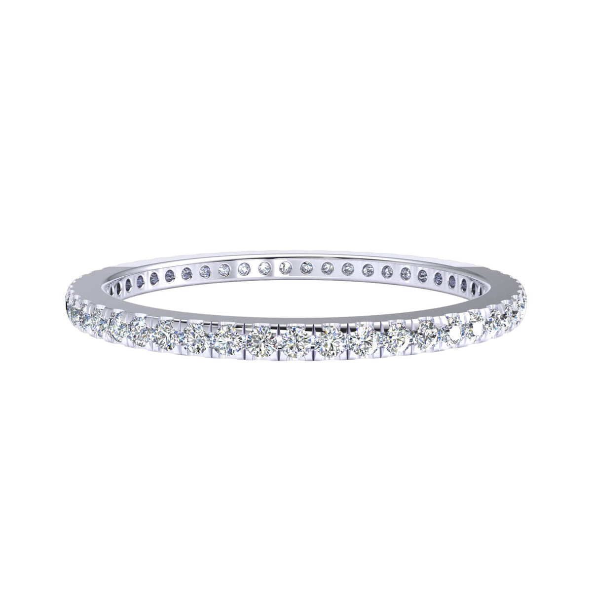 0.50 Ct Round GH I1-I2 Diamond Classic Eternity Wedding Band For Women 925 Silver