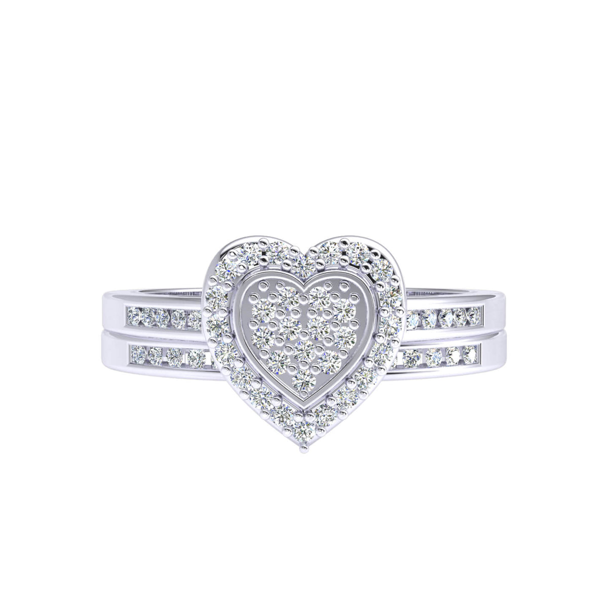 0.30 Ct Women's Round GH I1-I2 Diamond Cluster Heart Fancy Ring 925 Silver