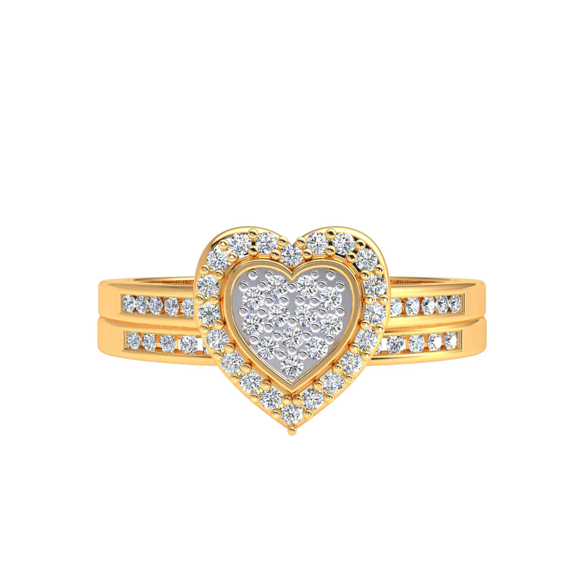 0.30 Ct Women's Round GH SI1 Diamond Cluster Heart Fancy Ring 10k Gold