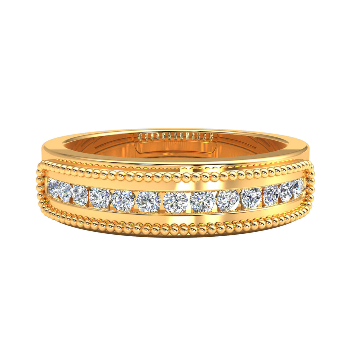 0.33 Ct Round GH SI1 Diamond Fancy Milgrain Wedding Band For Men 10k Gold