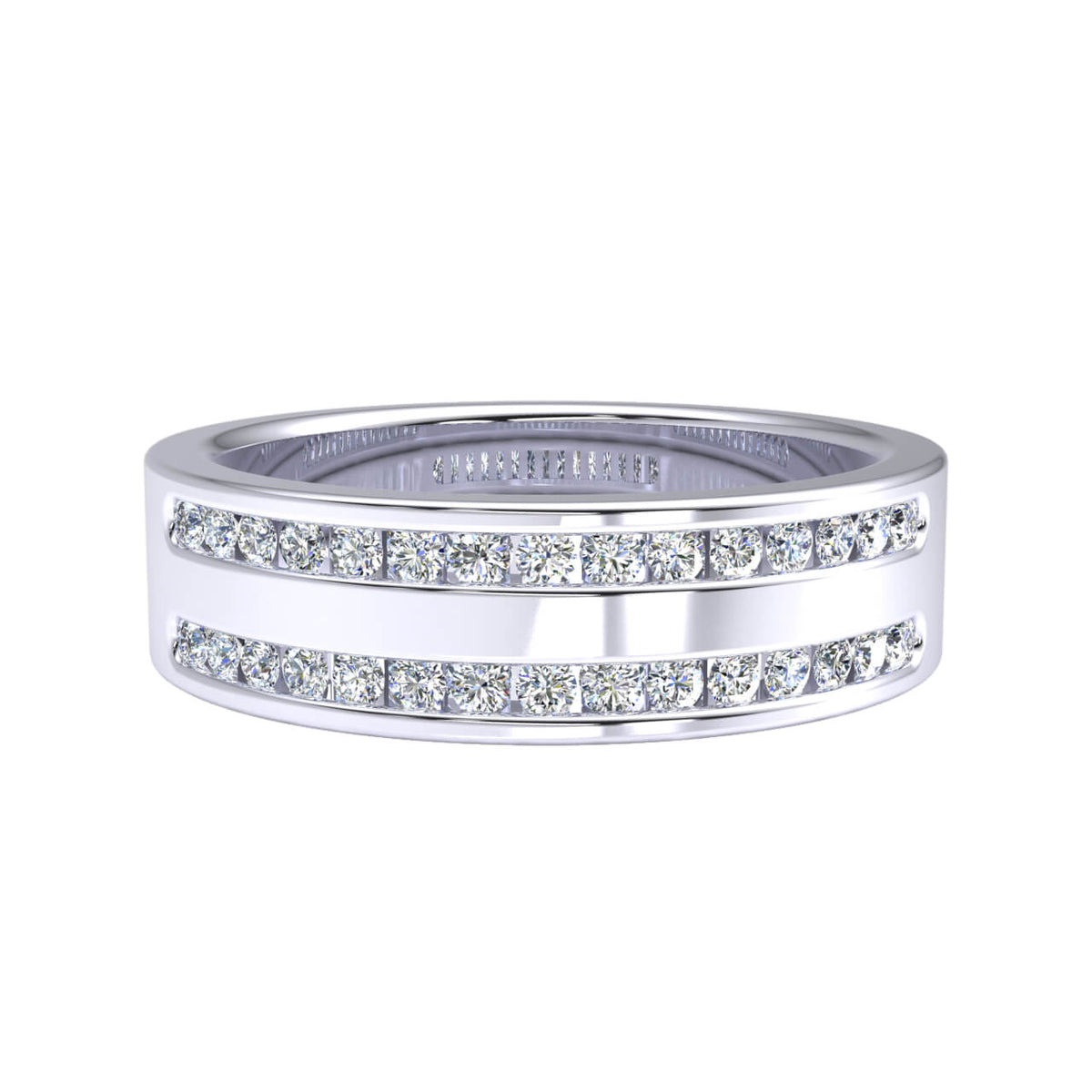 0.45 Ct Round GH I1-I2 Diamond 2 Row Fancy Wedding Band For Men 925 Silver