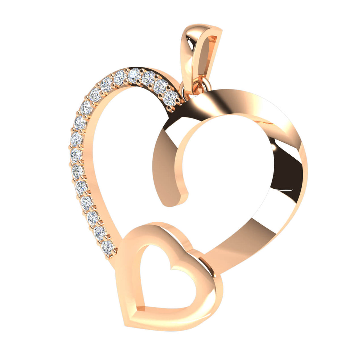 0.12 Ct Round GH SI1 Diamond Drop Heart Pendant 14k Gold