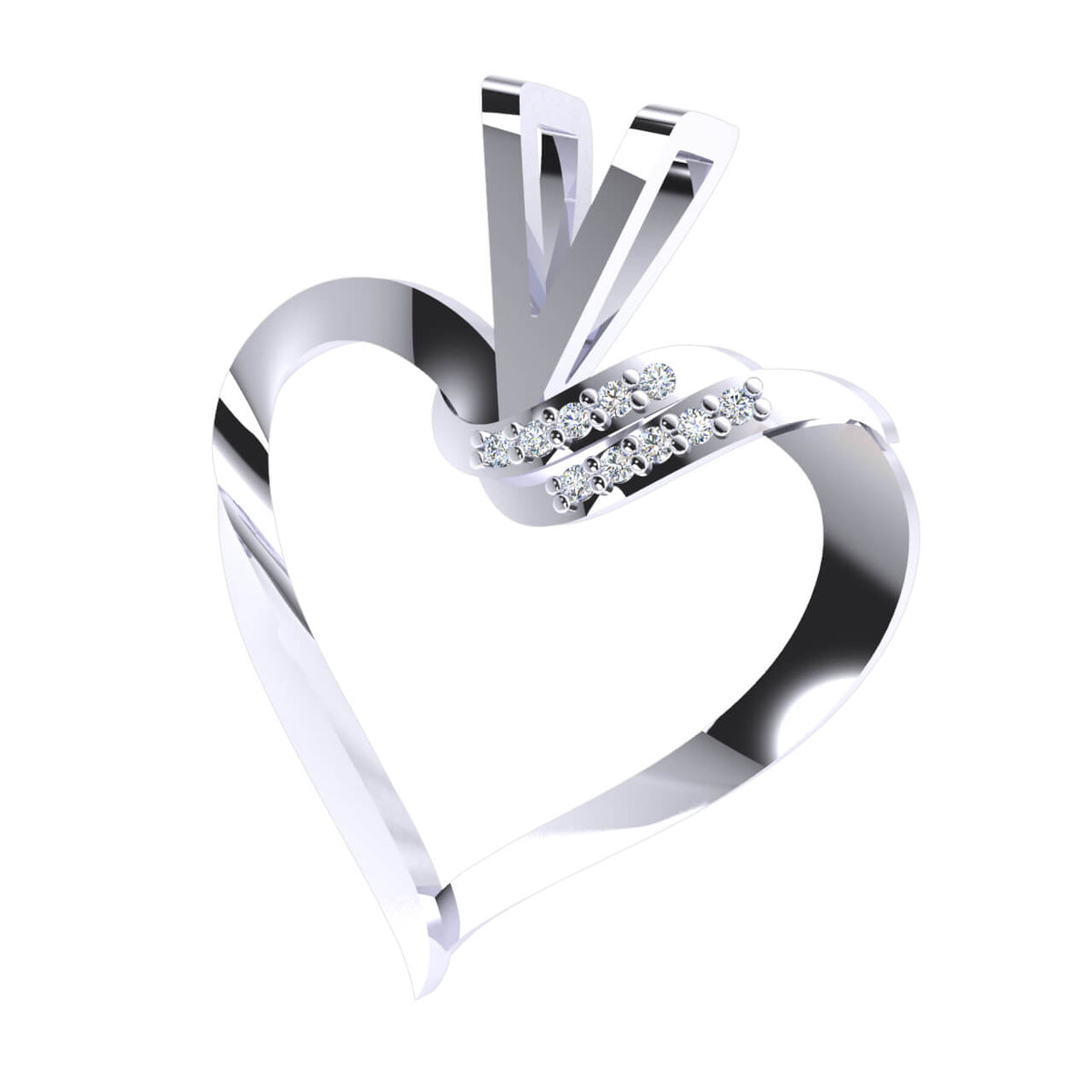 0.05 Ct Round GH I1-I2 Diamond Heart Pendant For Women 925 Sterling Silver