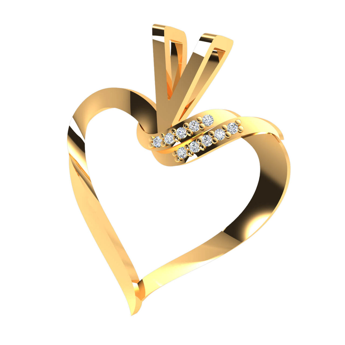 0.05 Ct Round GH SI1 Diamond Heart Pendant For Women 10k Gold