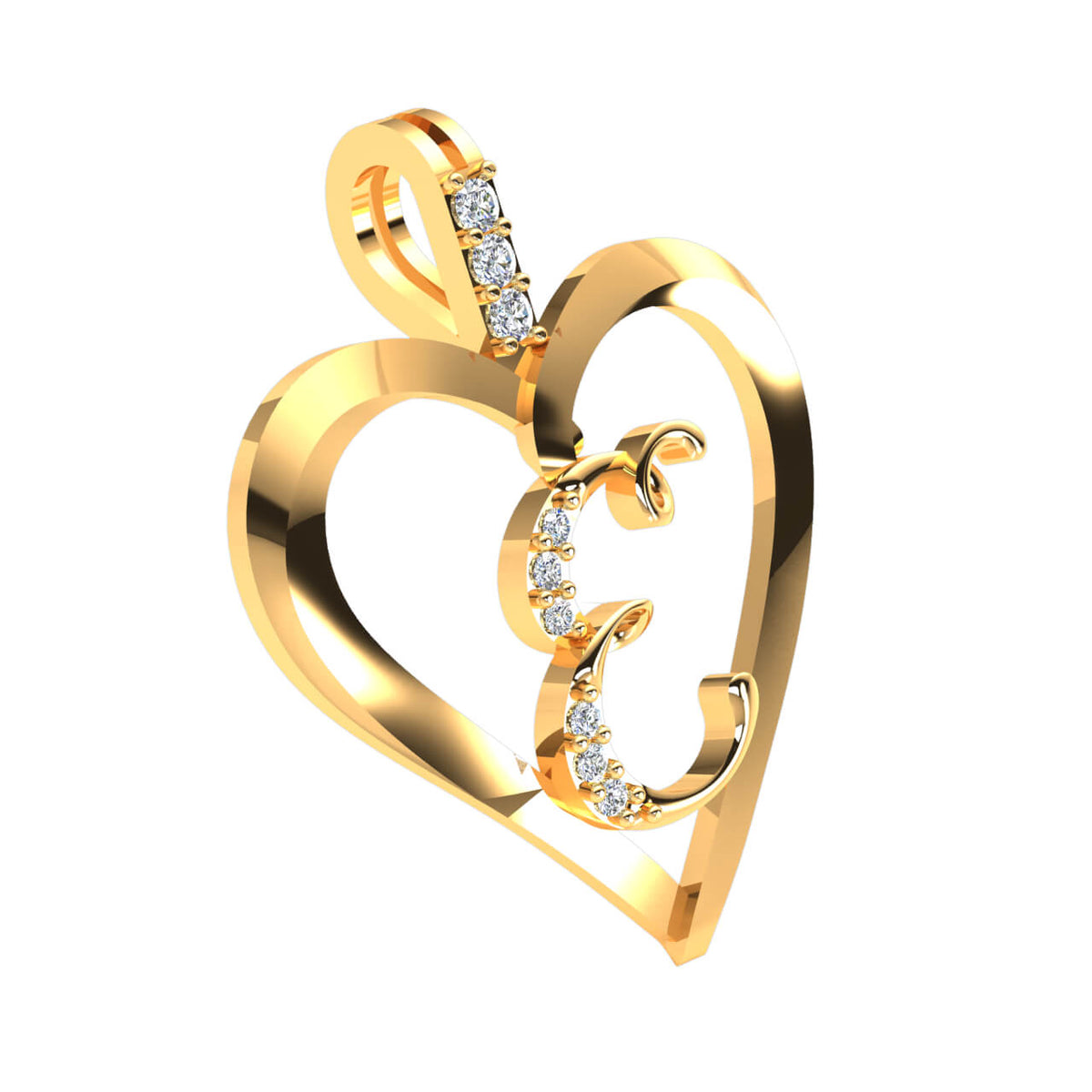0.07 Ct Heart Initial Pendant For Adults Round FG VS Diamond 14k Gold