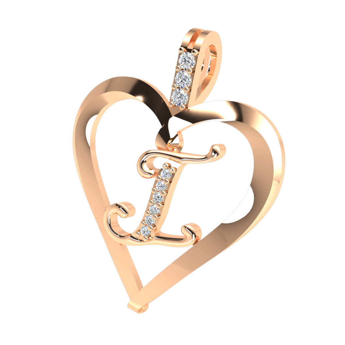 0.07 Ct Heart Initial Pendant For Adults Round GH SI1 Diamond 10k Gold