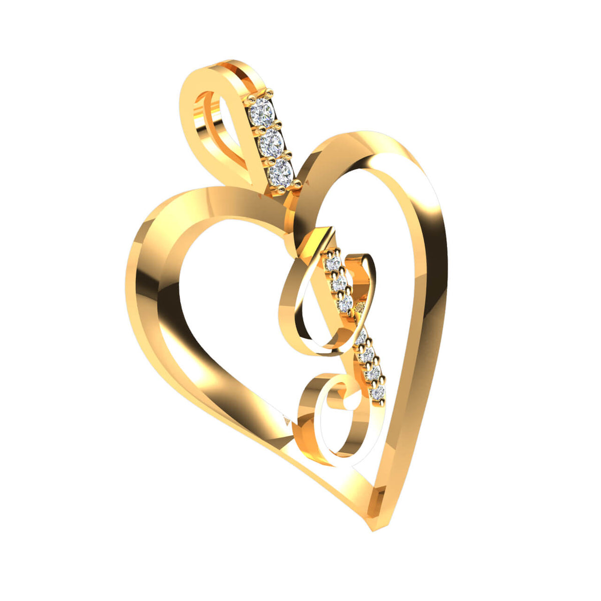 0.07 Ct Round H SI2 Diamond Alphabet 'J' Heart Initial Pendant 10k Gold